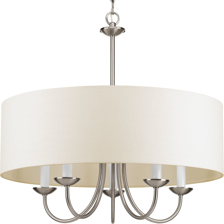 Progress Lighting 21.625-in 5-Light Brushed Nickel Shaded Chandelier