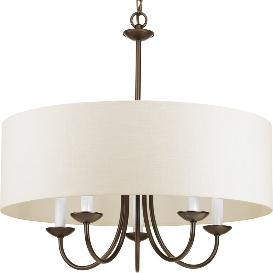 drum lighting lowes. progress lighting 21.625-in 5-light antique bronze shaded chandelier drum lowes f