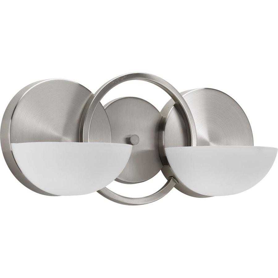 Progress Lighting Engage 2-Light 7-in Brushed Nickel Geometric Vanity Light