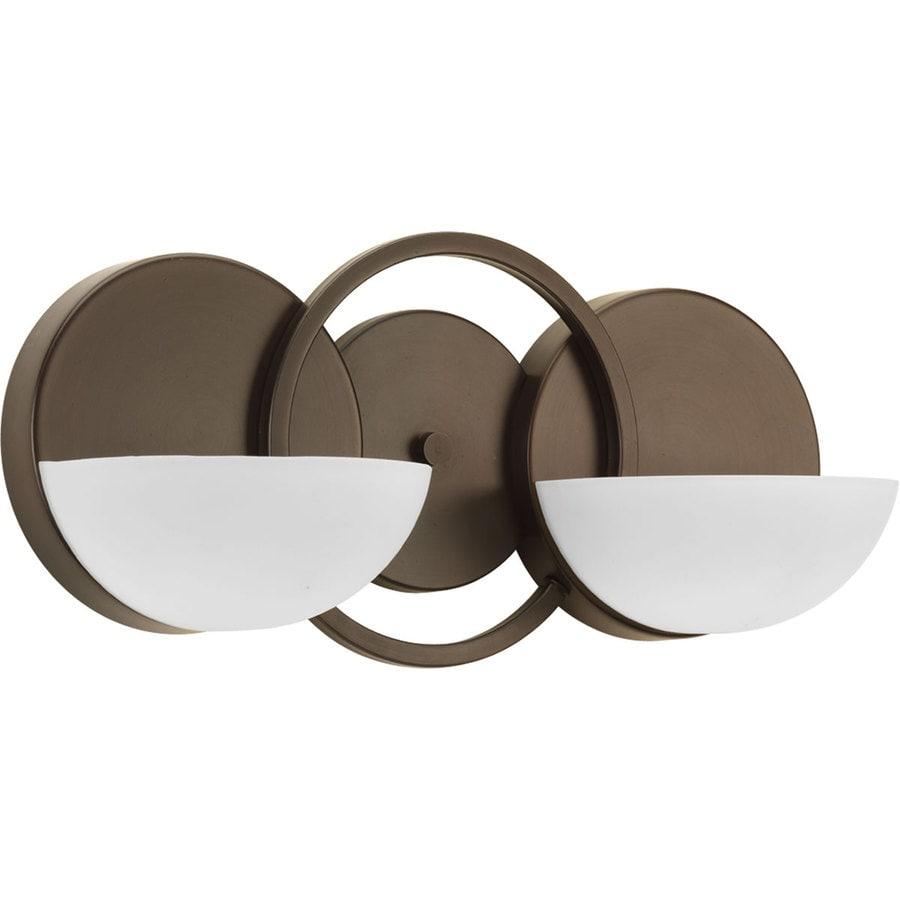 Progress Lighting Engage 2-Light 7-in Antique bronze Geometric Vanity Light
