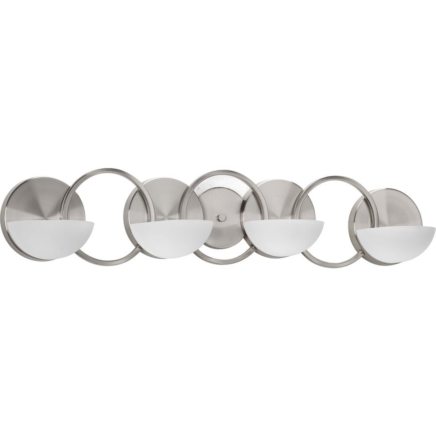 Progress Lighting Engage 4-Light 7-in Brushed Nickel Geometric Vanity Light