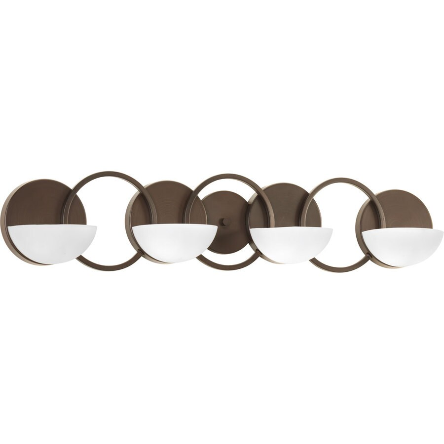 Progress Lighting Engage 4-Light 7-in Antique Bronze Geometric Vanity Light