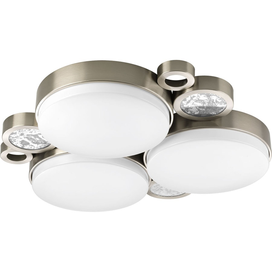 Progress Lighting Bingo 24-in W Brushed Nickel LED Ceiling Flush Mount