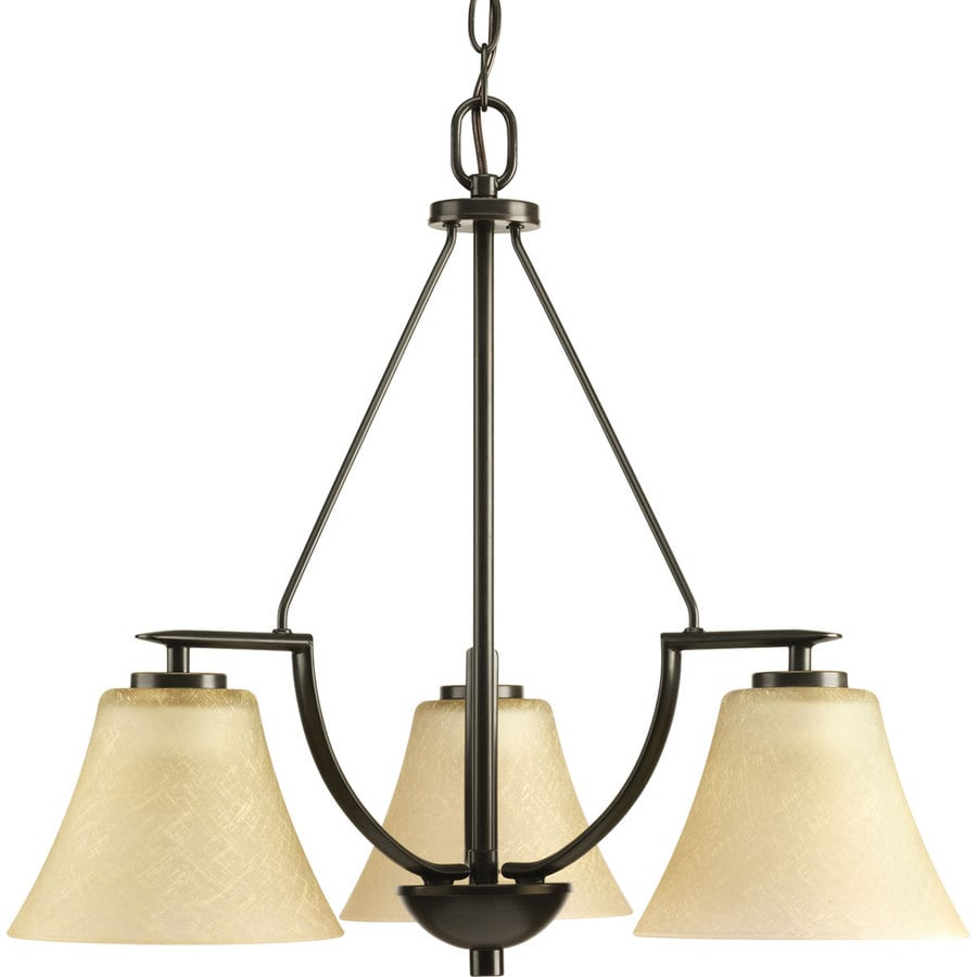 Progress Lighting Bravo 23-in 3-Light Antique Bronze Tinted Glass Shaded Chandelier