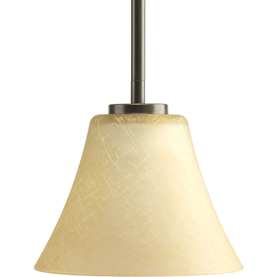 Progress Lighting Bravo 7.25-in Antique Bronze Mini Tinted Glass Bell Pendant