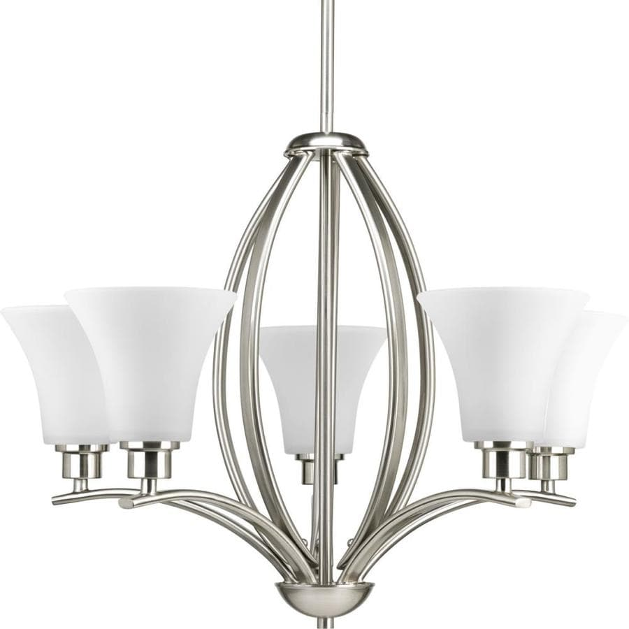 Progress Lighting Joy 24-in 5-Light Brushed Nickel Etched Glass Shaded Chandelier