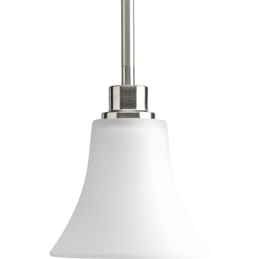 Progress Lighting Joy 6-in Brushed Nickel Mini Etched Glass Bell Pendant