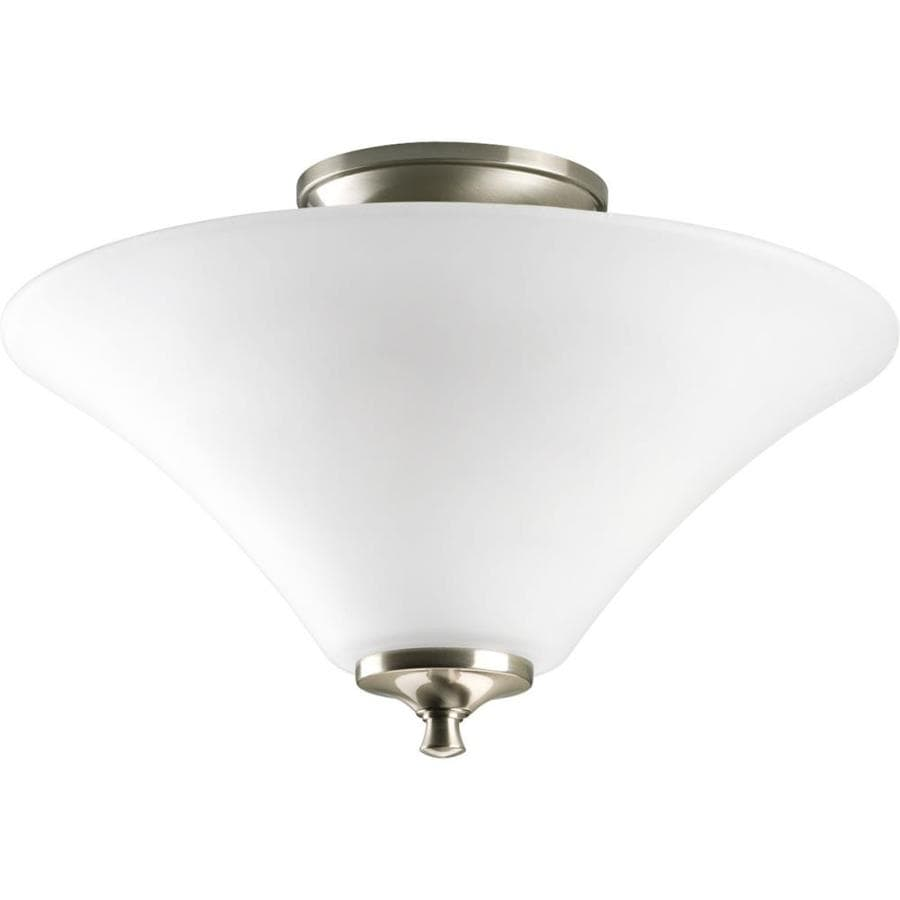 Progress Lighting Joy 13.37-in W Brushed Nickel Frosted Glass Semi-Flush Mount Light