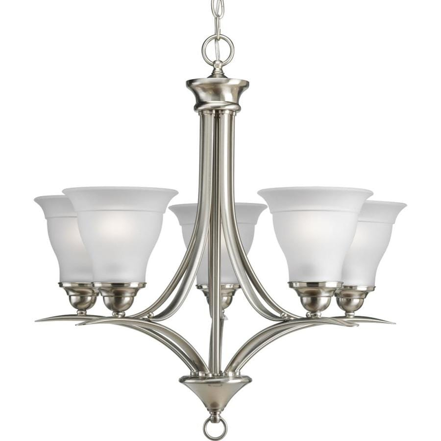 Shop Progress Lighting Trinity 23 In 5 Light Brushed Nickel Etched Glass Shaded Chandelier At