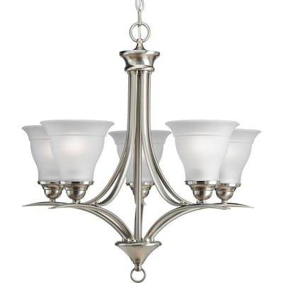 Trinity 5 Light Brushed Nickel Transitional Etched Gl Shaded Chandelier