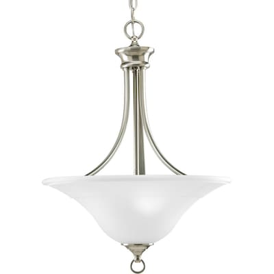 Trinity Brushed Nickel Etched Gl Bowl Pendant Light