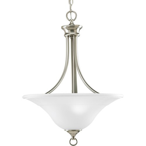 Progress Lighting Trinity Brushed Nickel Single Transitional Etched Gl Bowl Pendant Light At Lowes