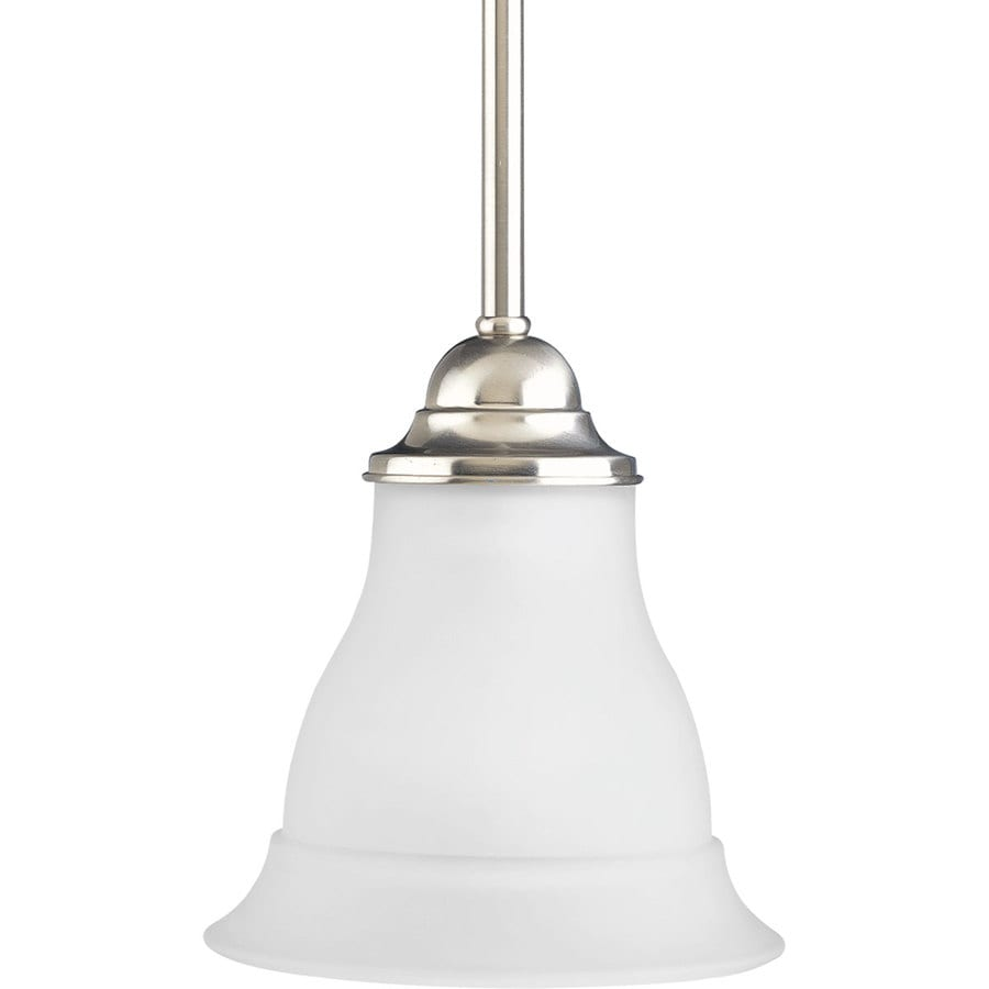 Progress Lighting Trinity 6.5-in Brushed Nickel Mini Etched Glass Bell Pendant