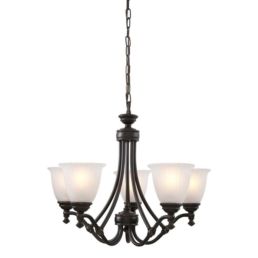 Progress Lighting Renovations 25-in 5-Light Forged Bronze Etched Glass Shaded Chandelier