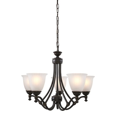 Renovations 25 In 5 Light Forged Bronze Etched Gl Shaded Chandelier