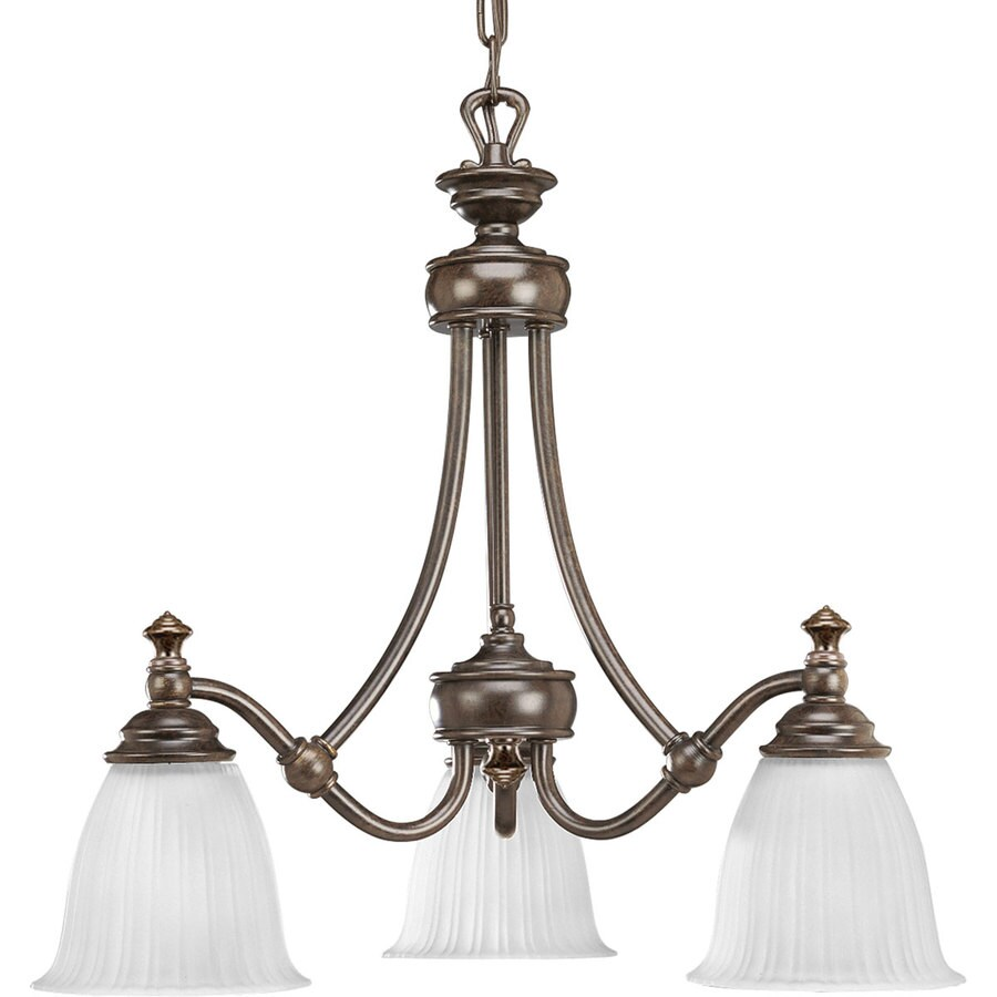 Progress Lighting Renovations 22.25-in 3-Light Forged Bronze Etched Glass Shaded Chandelier