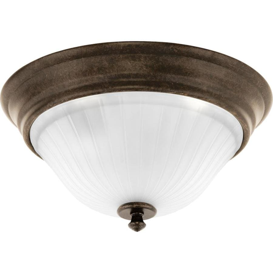 Progress Lighting Renovations 12.75-in W Forged Bronze Flush Mount Light