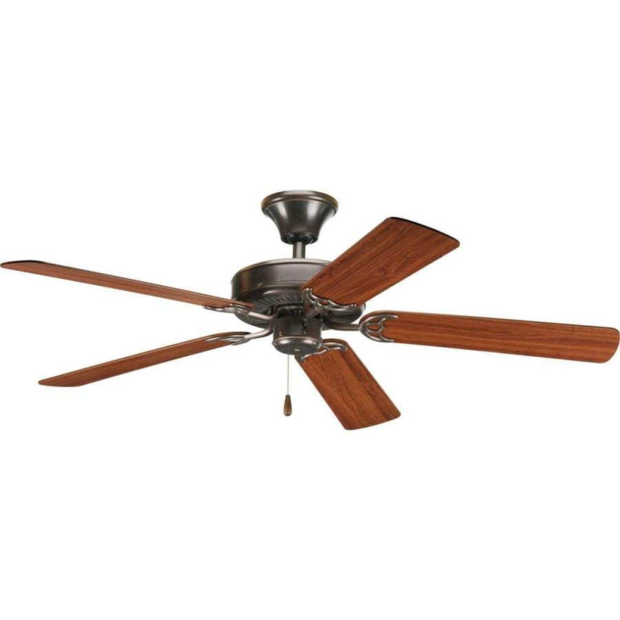 Progress Lighting AirPro 52-in Antique bronze Indoor Downrod Or Close Mount Ceiling Fan ENERGY STAR