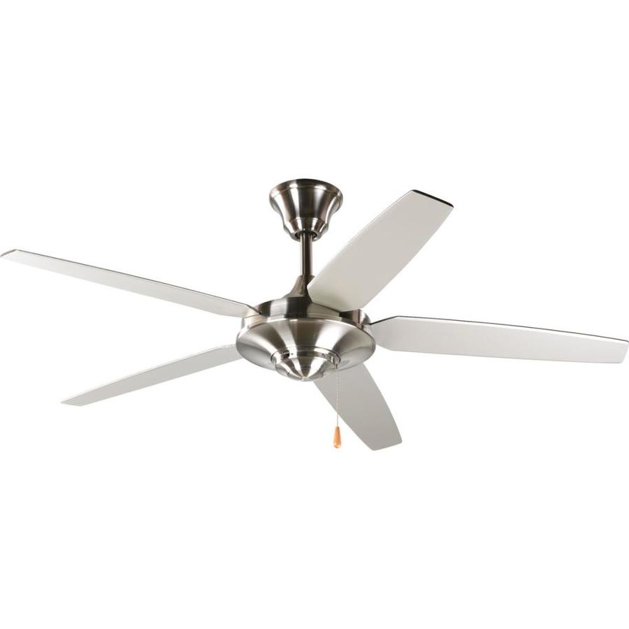 Progress Lighting AirPro Signature 54-in Brushed Nickel Downrod Mount Indoor Ceiling Fan ENERGY STAR