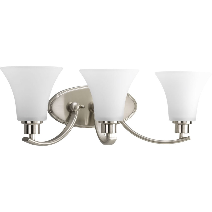 shop progress lighting 3-light joy brushed nickel bathroom vanity