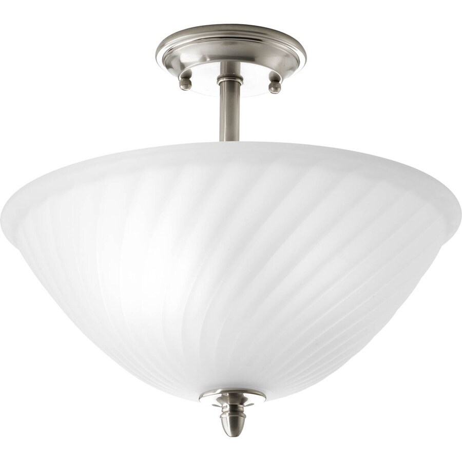 Progress Lighting Kensington 14-in W Brushed Nickel Frosted Glass Semi-Flush Mount Light