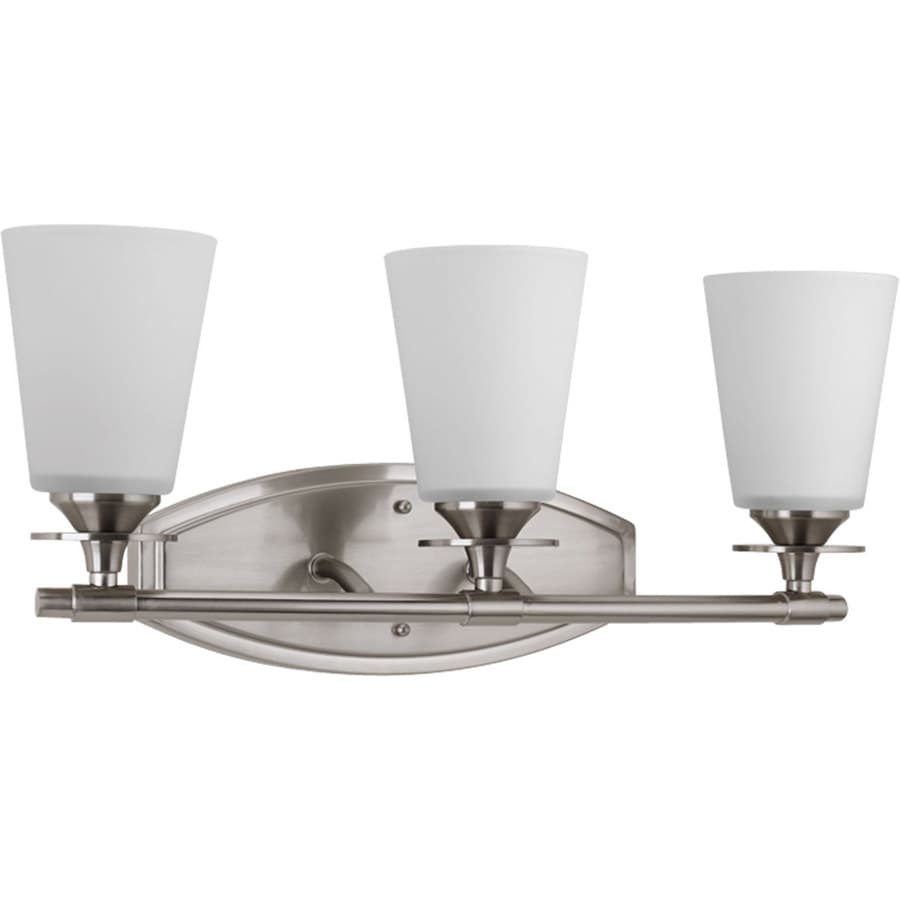 Vanity Lights In Brushed Nickel : Shop Progress Lighting Cantata 3-Light 9.25-in Brushed Nickel Cone Vanity Light at Lowes.com