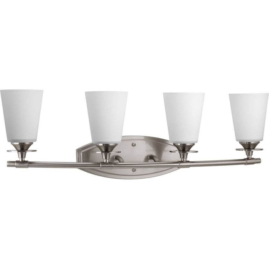 Progress Lighting Cantata 4-Light 9.25-in Brushed Nickel Cone Vanity Light