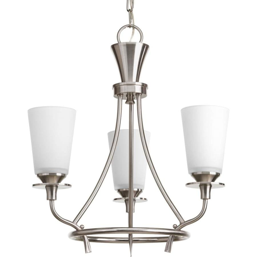 Progress Lighting Cantata 17-in 3-Light Brushed Nickel Etched Glass Shaded Chandelier