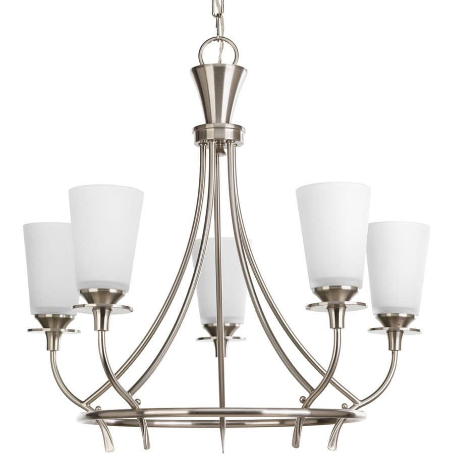 Progress Lighting Cantata 23-in 5-Light Brushed nickel Etched Glass Shaded Chandelier