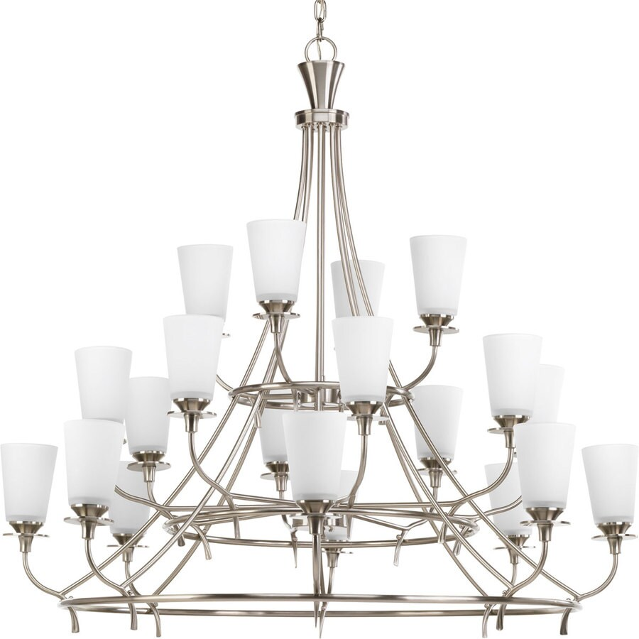 Progress Lighting Cantata 42-in 20-Light Brushed Nickel Etched Glass Tiered Chandelier