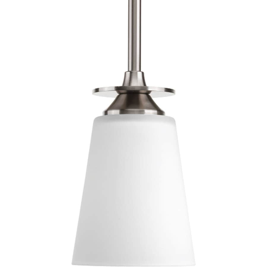 Progress Lighting Cantata 4.5-in Brushed Nickel Mini Etched Glass Cone Pendant