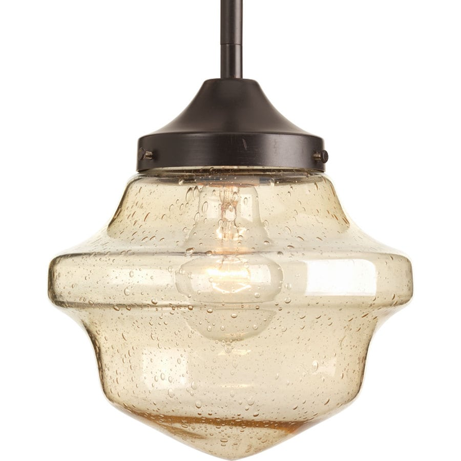 Shop progress lighting schoolhouse 8 in antique bronze mini clear progress lighting schoolhouse 8 in antique bronze mini clear glass schoolhouse pendant aloadofball Images