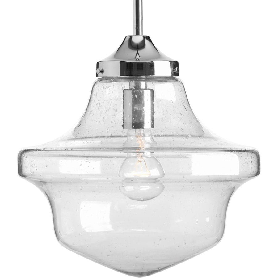 Shop progress lighting schoolhouse 12 in chrome single clear glass progress lighting schoolhouse 12 in chrome single clear glass schoolhouse pendant mozeypictures Images