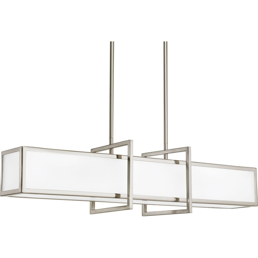 Progress Lighting Haven 34-in Brushed Nickel Mini Etched Glass Geometric Pendant