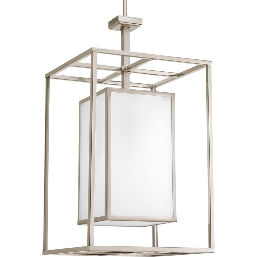 Progress Lighting Haven 14-in 1-Light Brushed nickel Etched Glass Shaded Chandelier