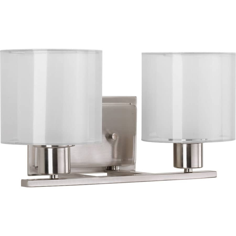 2 Light Vanity Light Brushed Nickel : Shop Progress Lighting Invite 2-Light 7.5-in Brushed Nickel Oval Vanity Light at Lowes.com