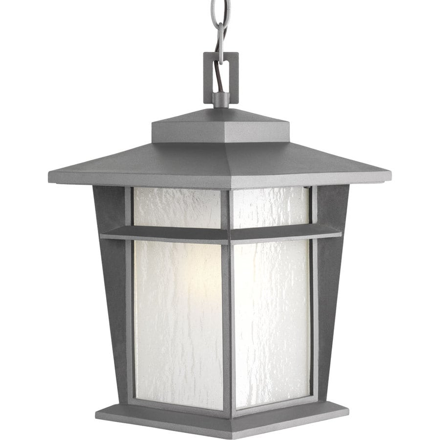 Progress Lighting Loyal 14-in Textured Graphite Outdoor Pendant Light ENERGY STAR