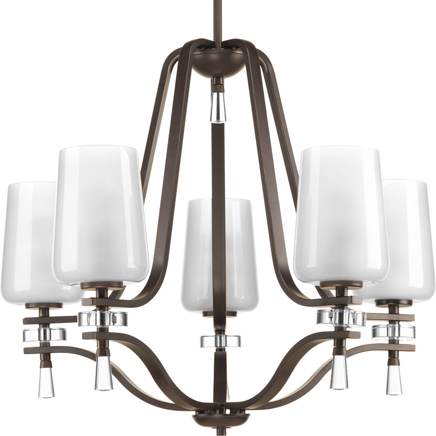 Progress Lighting Indulge 26-in 5-Light Antique Bronze Etched Glass Shaded Chandelier