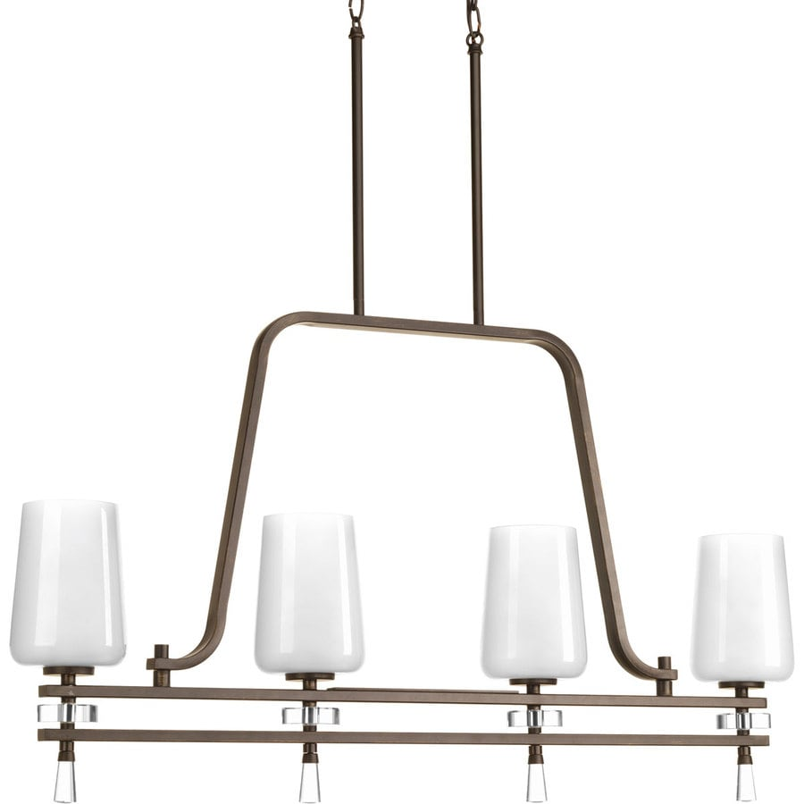 Progress Lighting Indulge 38-in 4-Light Antique Bronze Etched Glass Shaded Chandelier