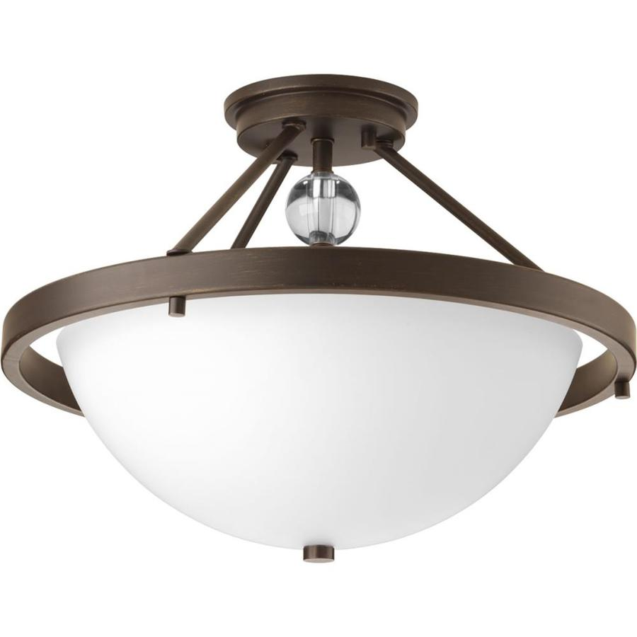 Progress Lighting Compass 16-in W Antique Bronze Etched Glass Semi-Flush Mount Light