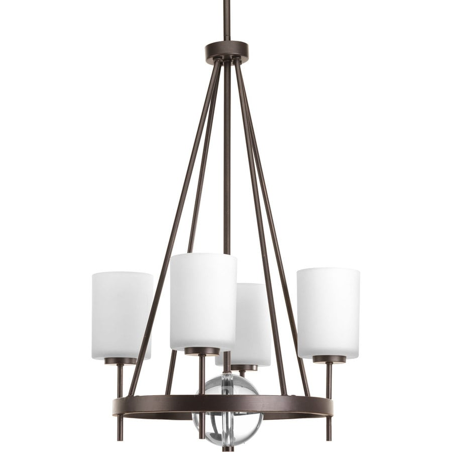 Progress Lighting Compass 18-in 4-Light Antique Bronze Etched Glass Shaded Chandelier