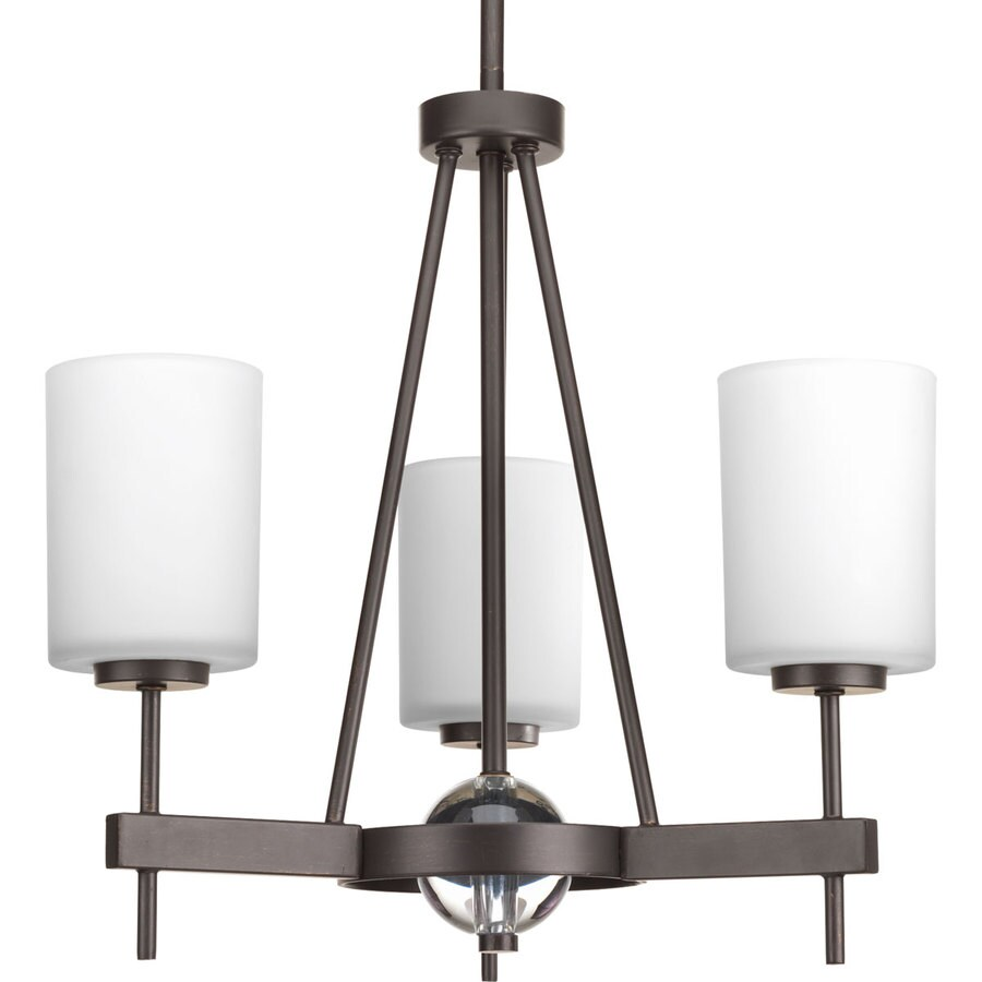 Progress Lighting Compass 19-in 3-Light Antique Bronze Etched Glass Shaded Chandelier