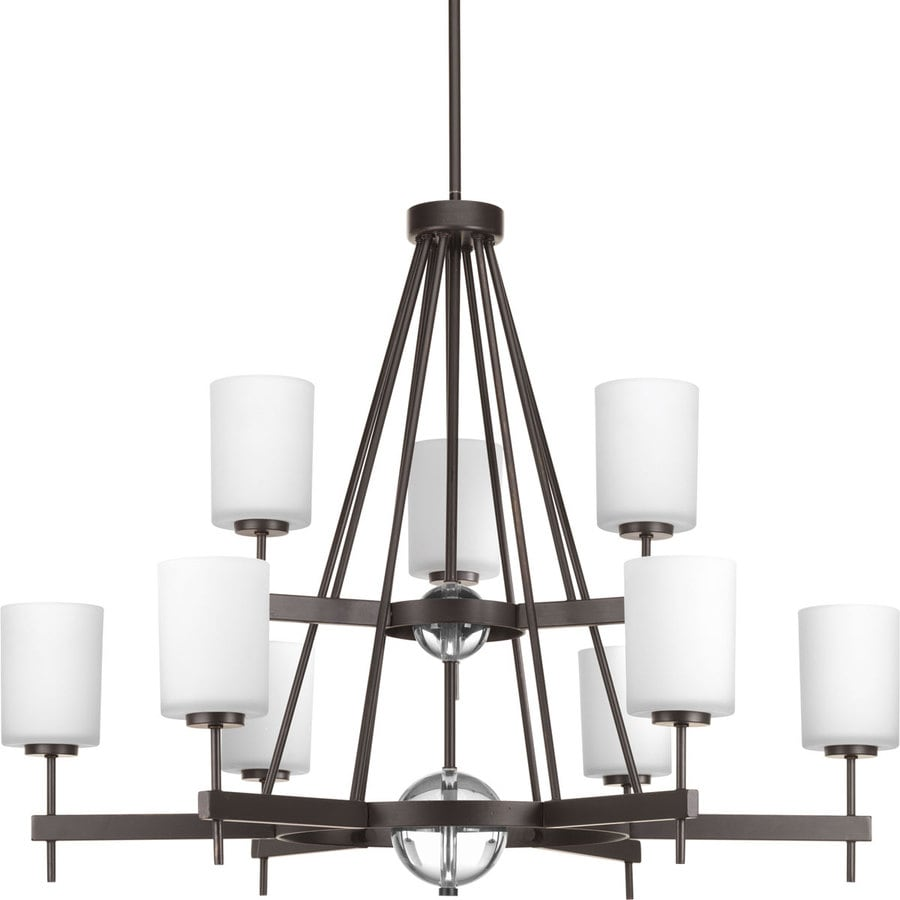 Progress Lighting Compass 35.75-in 9-Light Antique Bronze Etched Glass Tiered Chandelier