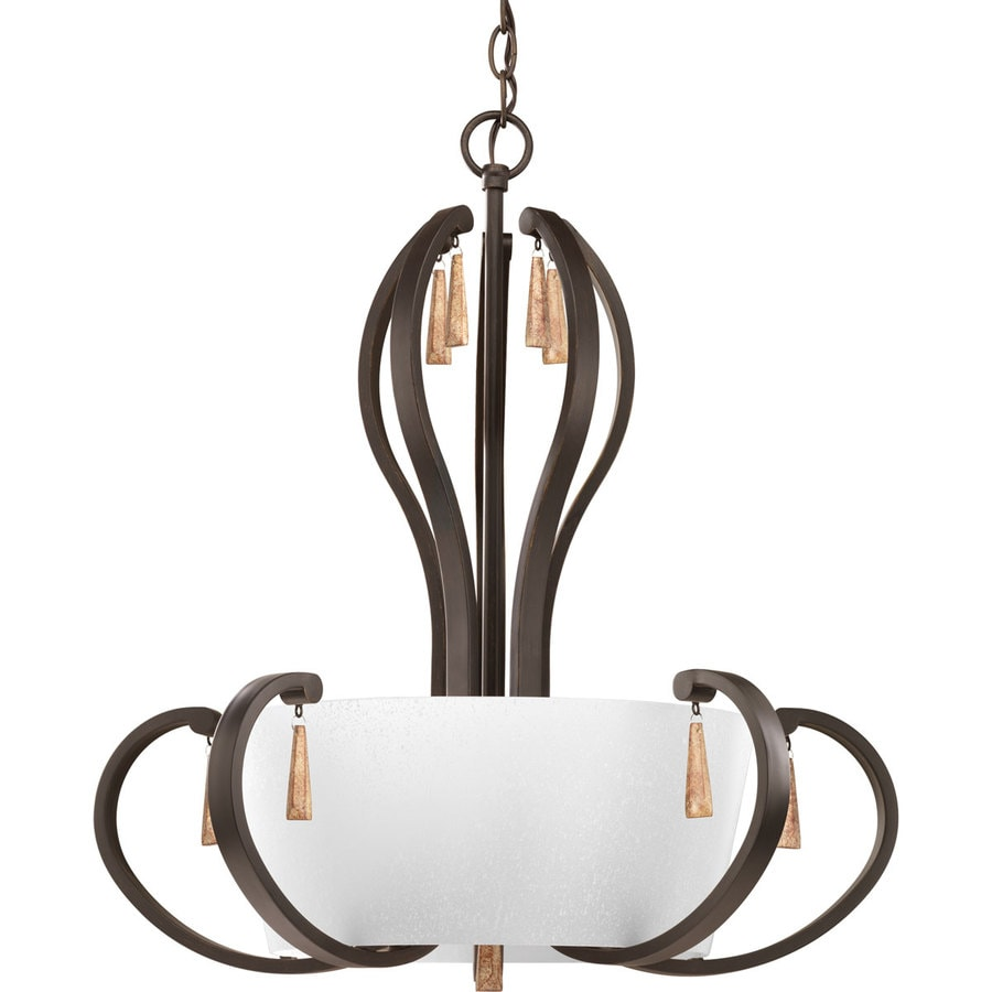 Progress Lighting Club 22-in 5-Light Antique Bronze Tinted Glass Shaded Chandelier