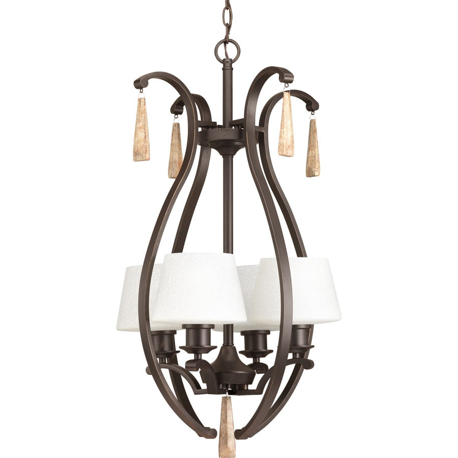 Progress Lighting Club 18-in 4-Light Antique Bronze Tinted Glass Shaded Chandelier