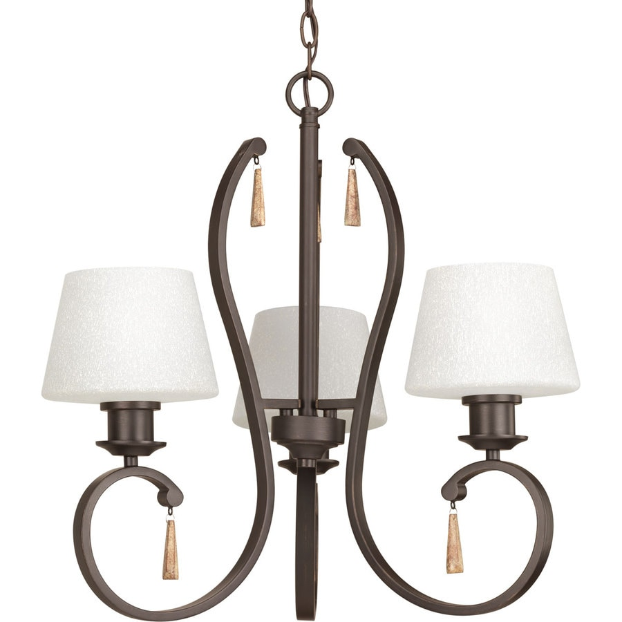 Progress Lighting Club 23-in 3-Light Antique bronze Tinted Glass Shaded Chandelier