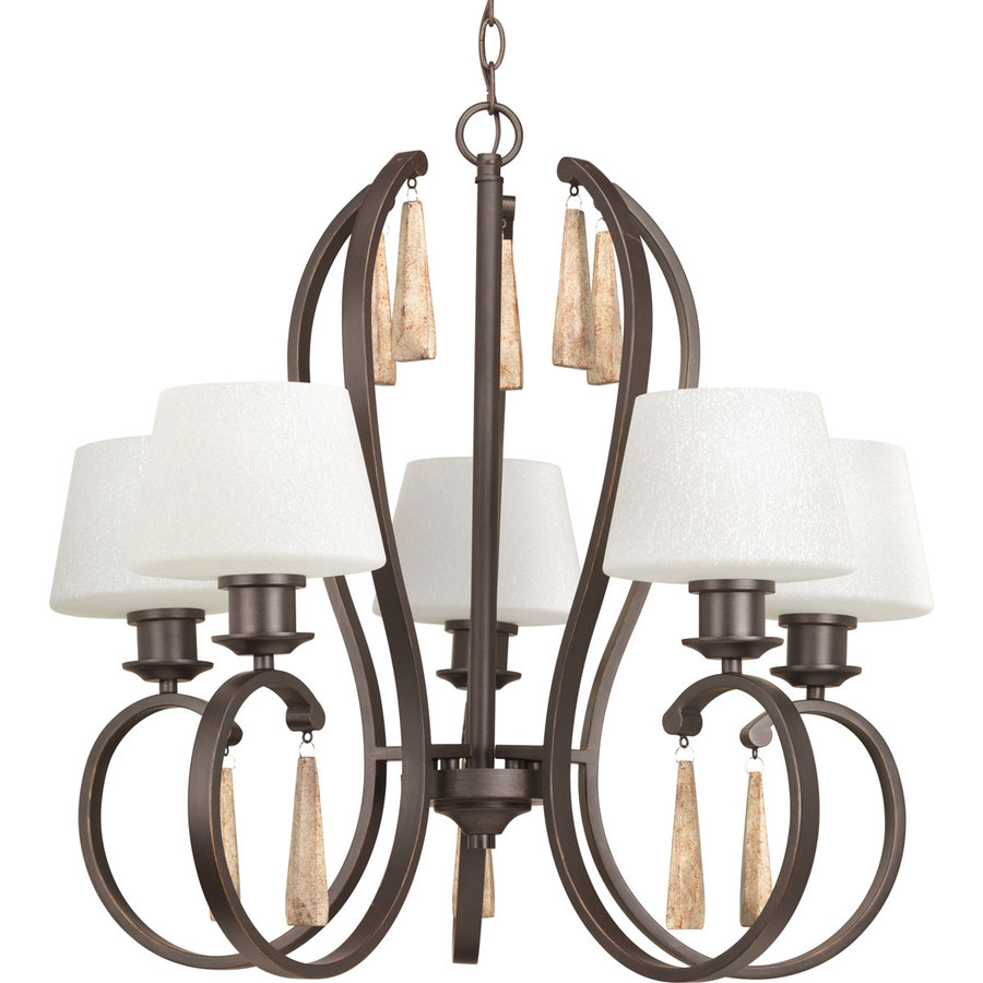 Progress Lighting Club 26.75-in 5-Light Antique Bronze Tinted Glass Shaded Chandelier