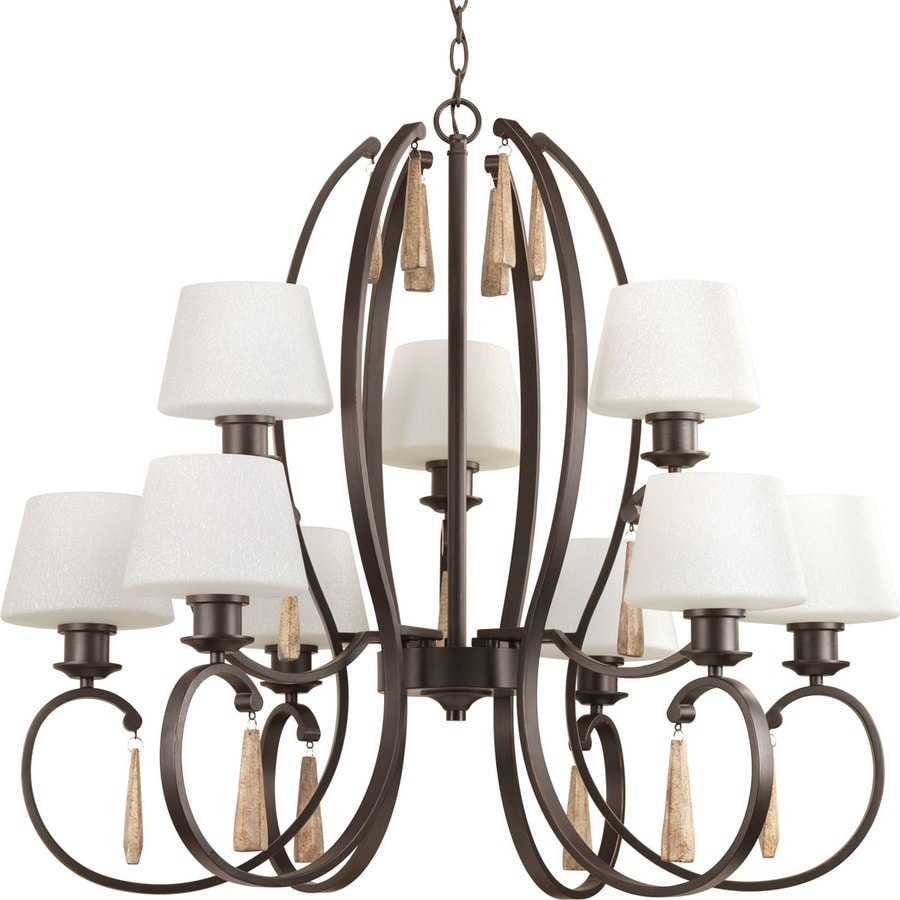 Progress Lighting Club 35.75-in 9-Light Antique Bronze Tinted Glass Tiered Chandelier