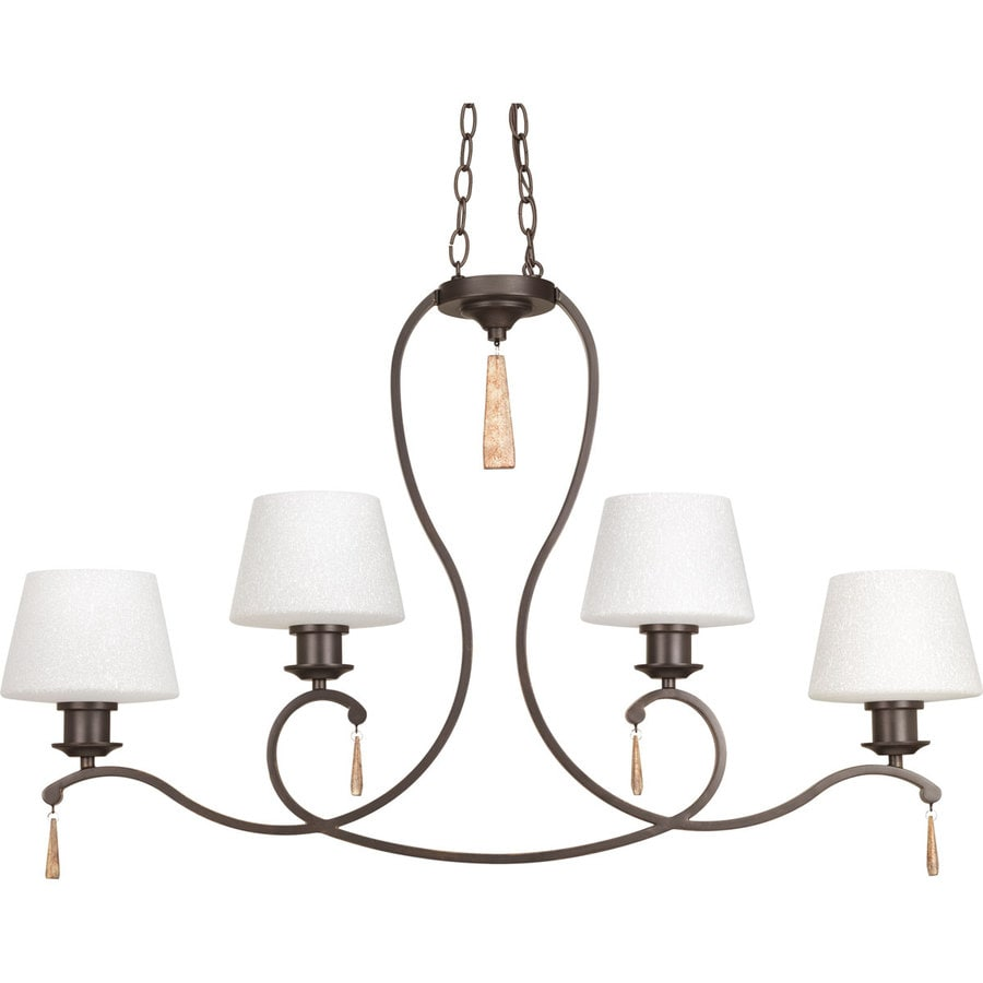 Progress Lighting Club 36.125-in 4-Light Antique Bronze Tinted Glass Shaded Chandelier