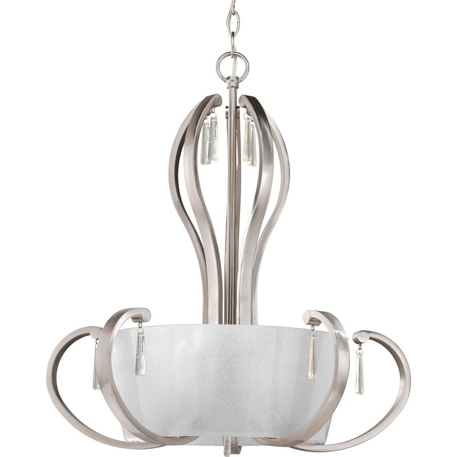 Progress Lighting Dazzle 22-in 5-Light Brushed Nickel Clear Glass Shaded Chandelier
